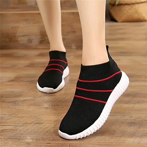Shukun enkellaarzen voor de herfst en de winter, stretch-sokken, laag, sportschoenen, ademend