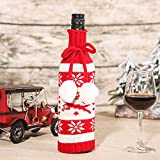 LCYZ Tapas de suéter de Punto Feo Botellas de Vino de Navidad, Bolsas de Regalo Reutilizables Decoraciones navideñas de Vino, Decoraciones Hechas a Mano