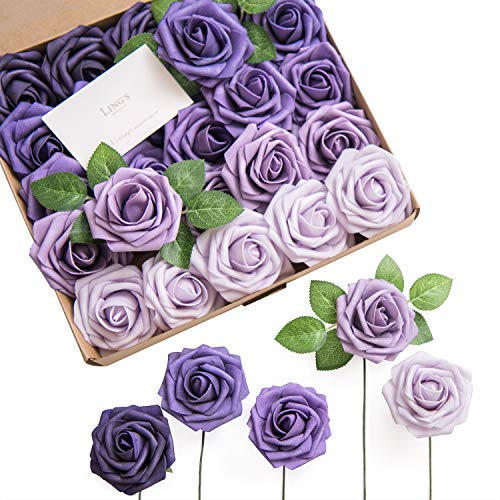 Ling's moment Artificial Roses Flowers 25pcs Purple Ombre Colors Fake Roses with Stem for DIY Wedding Bouquets Centerpieces Arrangments Decorations