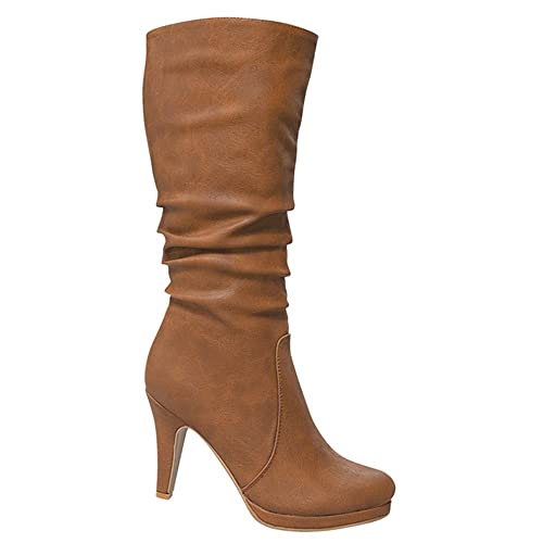 7ea2029d6ff Top Moda Womens Page-43 Mid Calf Round Toe Slouched High Heel Boots