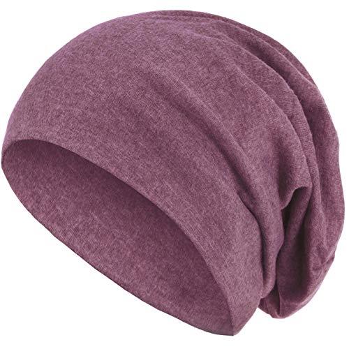 style3 Warme Herbst Winter Slouch Beanie XXL aus atmungsaktivem, feinem und leichten Jersey Unisex Mütze Wintermütze One Size, Farbe:Berry meliert