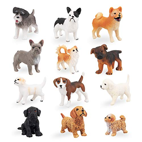 TOYMANY 12PCS Mini Dog Figurines Toy Set, Realistic Detailed Plastic Puppy Figures Playset, Hand Painted Dogs Animals Toy, Cake Toppers Easter Eggs Christmas Birthday Gift for Kids Toddlers