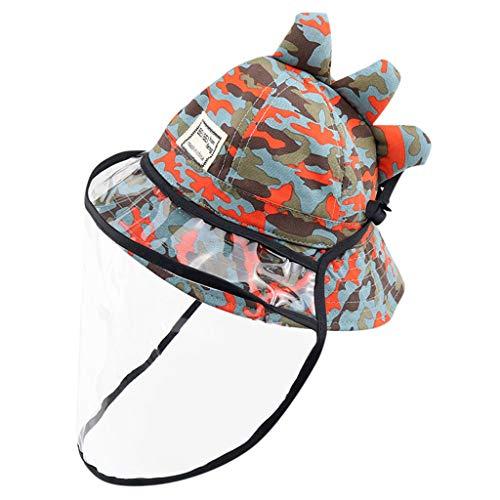 TONSEE Chapeaux De Protection pour Enfants Chapeau Anti-crachats pour Bébé Coque Amovible pour Enfants Coque Amovible Chapeau De Pêcheur Beige (Rouge,2-8ans)