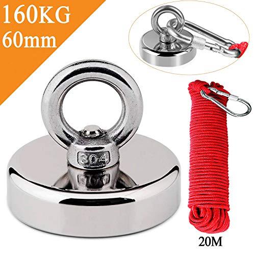Uolor 160KG Haftkraft Neodym Ösenmagnet Magnete mit Seil (20M/66ft), N52 Super Stark Magnet Perfekt zum Magnetfischen Magnet Angel - Ø 60mm mit Öse Neodymium Topfmagnet