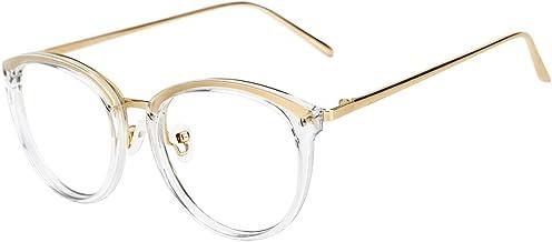TIJN Men Women Classic Round Blue Light Blocking Non-prescription Frosted Eyeglasses Frame