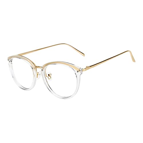 Womens Fashion Vintage Round Metal Frame Eyeglasses Spectacles Cat Ear Style