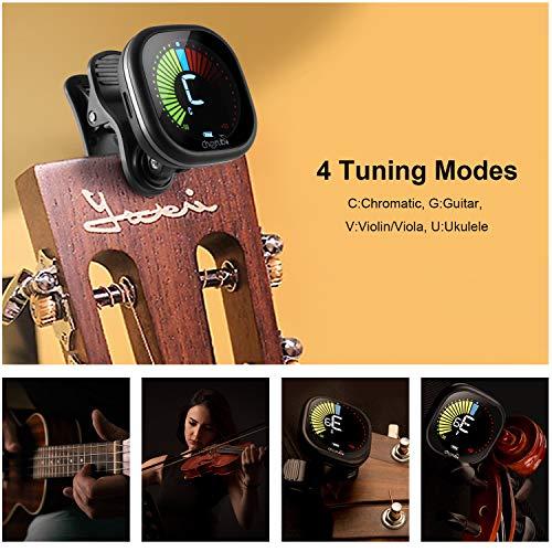 PREUP Recargable Afinador de Guitarra Sintonizador Para Guitarra, Violín, Ukelele & Cromático Clip en el Sintonizador de Pantalla LED a Color Rápido y Preciso, Profesional y Principiante