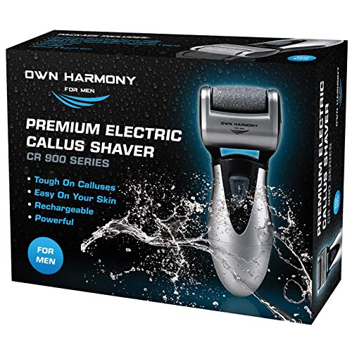 Electric Foot Callus Remover: Rechargeable Pedicure Tools for Men by Own Harmony -3 Rollers (Powerful) Best Professional Spa Electronic Micro Pedi Feet File Care Perfect for Hard Cracked Skin