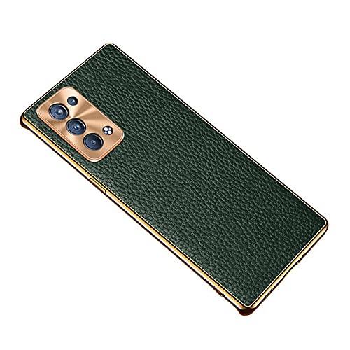 Estuche para teléfono de Cuero Real electrochapado con Piel de Litchi de Lujo para OPPO Reno 6/6 Pro / 6 Pro Plus Contraportada ultradelgada, Verde, Reno 6 Pro
