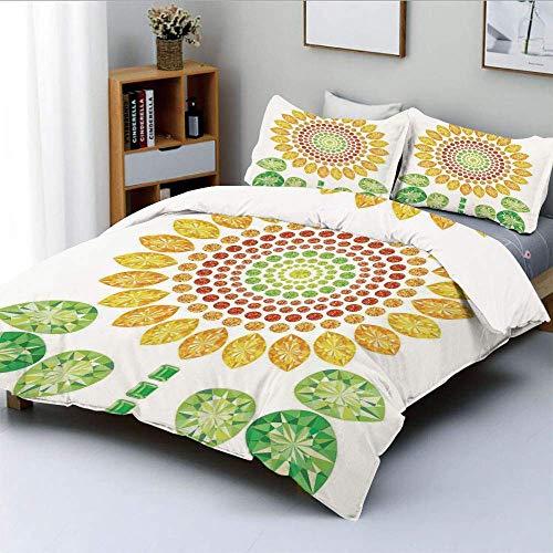 Juego de funda nórdica, Mandala redonda con forma de girasol con estampados de diamantes y perlas Wonders of Design Juego de cama decorativo de 3 piezas con 2 fundas de almohada, amarillo blanco verde