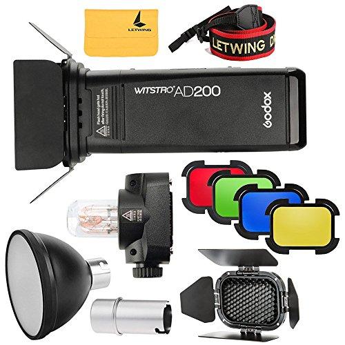 Godox 2.4G TTL HSS Due Teste AD200 200w Flash + AD-S15 Flash Lampadina Cover Protettiva + AD-S2 Riflettore + BD-07 Barn Door con Colorati Filtri Kit Compatibile per Fotocamere Nikon Sony Canon