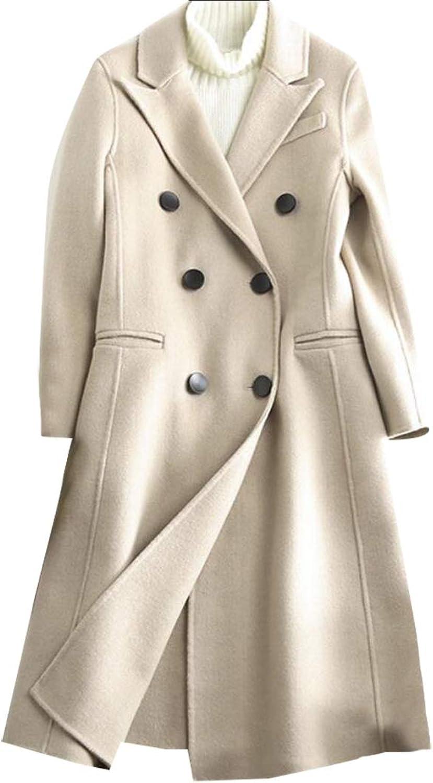 GenericWomen Double Breasted Trench Coat Tailoring Chelsea Overcoat