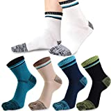 REKYO 5 Pairs Mens Toe Socks Cotton Athletic Running Sport Five Finger Crew