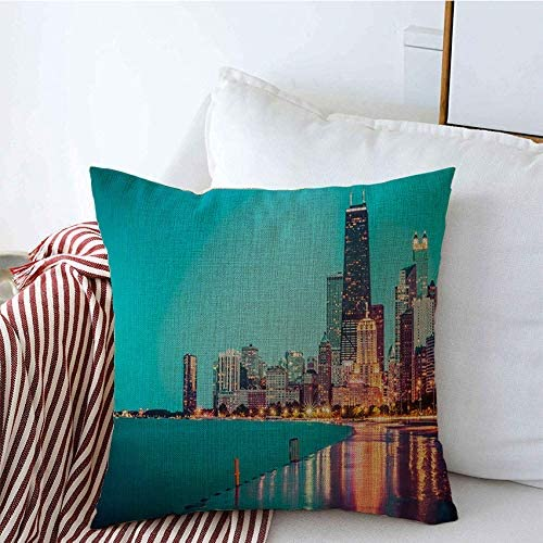 Decorative Pillow Covers Chicago Skyline Exposure Downtown Sunset Cloudy Night Sky Reflection Long Usa Landmarks Cityscape Throw Pillow Covers Sofa Bench Couch Summer Decor 20x20 Inch Home Kitchen