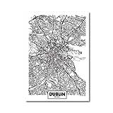 MULMF Cartel Del Mapa De La Ciudad De Dublín | Cartel De Pared, Arte De La Lona, Impresiones, Carteles Nórdicos, Para Sala De Estar, Decoración Del Hogar Personalizada Sin Marco-1Pcs_ 40X60Cm
