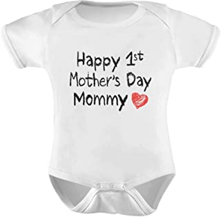 Gift for Mom - Happy First Mothers Day Mommy Infant Baby Bodysuit