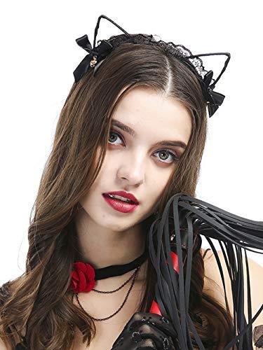 Fxmimior Halloween oreilles en dentelle Hot Cat Nœud Bell Headwear Bandeau Noir Halloween Coiffe Cheveux Accessoriescostume femmes filles