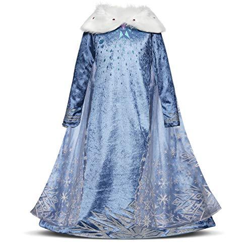 Niñas Cosplay Vestido de Princesa con Capa Manga Larga Vestido Largo Disfraz Azul Dulce Disfraz Ceremonia de Fiesta Halloween Navidad 3-10 Años (6-7 años, 122cm)