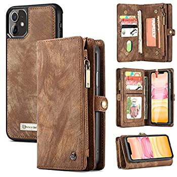 Zttopo iPhone 11 Wallet Case 2 in 1 Leather Zipper Detachable Magnetic 11 Card Slots Card Slots Money Pocket Clutch Cover with Screen Protector for 6.1 Inch iPhone Case  Brown