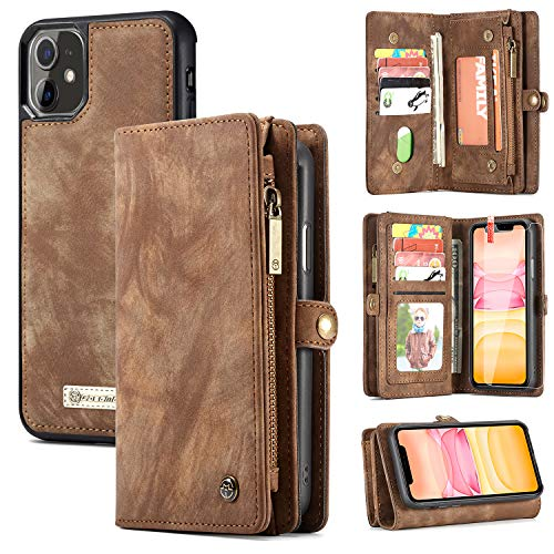 Zttopo iPhone 11 Wallet Case, 2 in 1 Leather Zipper Detachable Magnetic 11 Card Slots Card Slots Money Pocket Clutch Cover with Screen Protector for 6.1 Inch iPhone Case (Brown)