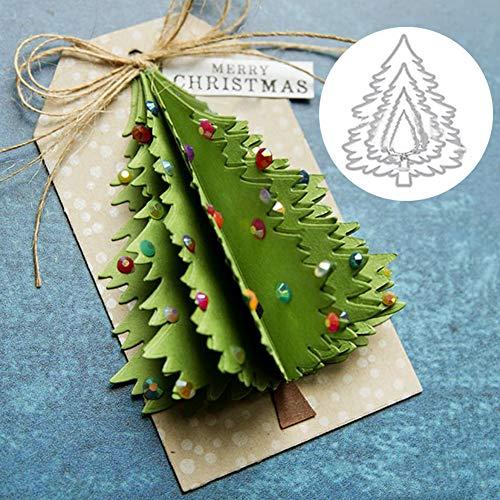 Oce180anYLV - Fustelle creative per albero di Natale, fustelle fai da te, scrapbooking, goffratura, biglietti di carta, stencil per artigianato fotografico - argento