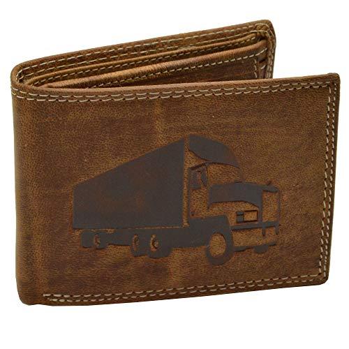 Stabiele robuuste RFID lederen portemonnee portemonnee met vrachtwagen/truck reliëf