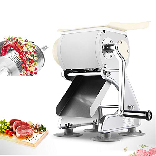 2-in-1 Multi-function Commercial Meat and Vegetable Cutting Machine Manual Meat Slicer Shredder Dicer Grinder Cutter 130lb/h for Pork, Lamb, Beef Hand Slicer (Stainless Steel blade) (10mm/0.39inch) -  NEWXU