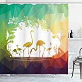 ABAKUHAUS Afrika Duschvorhang, Flamingo Wildtiere, Set inkl.12 Haken aus Stoff Wasserdicht Bakterie & Schimmel Abweichent, 175 x 180 cm, Multicolor