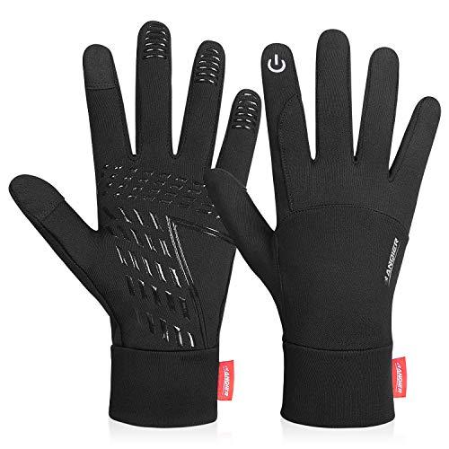 coskefy Touchscreen Handschuhe Sport Elastisch Leicht Atmungsaktiv Outdoor Gloves Damen Herren rutschfest Winddicht Winter Frühling Herbst Motorrad Fahrrad Camping Wandern Bergsteigen,M,Schwarz-B