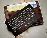 Custom Engraved Wallet Insert, Personalized Wallet Card, Mini Love...