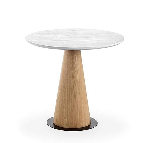 NAN Table Ronde en Bois Massif Table Basse Simple Table à canapés Petit Salon Balcon de Salon Table Basse créative - Une variété de Tailles Disponibles (Couleur   Blanc, Taille   60  45cm)