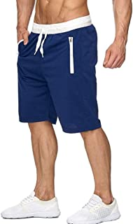 Men's Athletic Workout Shorts Lightweight Bodybuilding Gym Running Basketball Shorts with Zipper Pockets