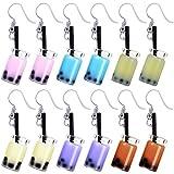 coadipress 6 Pairs Pearl Milk Tea Dangle Earrings Bubble Tea Drop Earrings Boba Earrings Funny Earrings for Women (6 Pcs Color)
