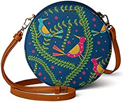 DailyObjects Teal Birds Orbis Round Sling Crossbody Bag for girls and women | Vegan leather, Stylish, Sturdy, Zip...