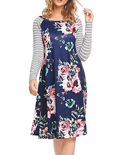 Kancystore Women's Floral Short Sleeve Plus Size T-Shirt Dress Casual A-Line Dress (3XL, 3Blue)