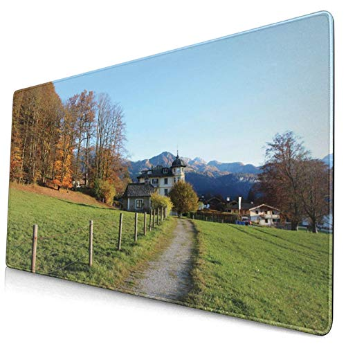 KASABULL Extra Large Gaming Mouse Pad Threes Walkway To Castle In Nature Autumn In Mountains Countryside Forest Outdoor 400x750 mm Professional Desk Mats Anti-Slip Rubber Base Keyboard