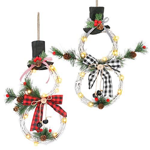 """Welltop Guirnalda de Navidad para barandilla Puertas Ventanas 15""""Puerta Ventana Pared Guirnalda Decoraciones navideñas Guirnalda de muñeco de Nieve con 10 cálidas Luces LED"""