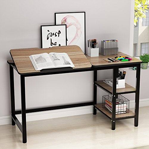 Drafting Table, LITTLE TREE Multi-Function Drawing Table with Adjustable Tiltable Stand Table Board, Can Also be Computer Desk, Writing Desk or Workstation for Office and Home Use. (Oak)