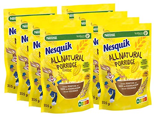 NESQUIK All Natural Porridge Classic mit Haferflocken, 8er Pack (8 x 315g)