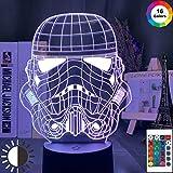 KangYD Casco Star Stormtrooper Luz de noche 3D, lámpara de ilusión LED, G - Control de Telefonía Móvil, Regalo para amigo, Cambio colorido
