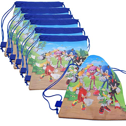 Bolsas de Sonic The Hedgehog 12Pcs bolsas con Cordón Dibujos Animados Mochila Bolsas para cumpleaños niños y Adultos la Fiesta favorece la Bolsa, Rellenos Bolsas Fiesta