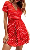 Spec4Y Damen Kleider V Ausschnitt Punkte Sommerkleid Rüschen Kurzarm Minikleid Strandkleid mit Gürtel Rot S