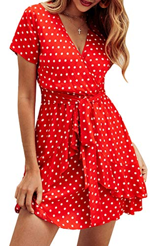 Spec4Y Damen Kleider V Ausschnitt Punkte Sommerkleid Rüschen Kurzarm Minikleid Strandkleid mit Gürtel Rot L