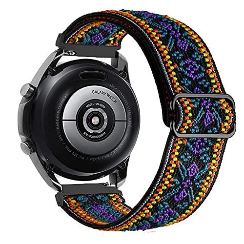 Ajustable Correas Nailon Compatible con Samsung Galaxy Watch 46mm/Gear S3 Frontier, 22mm Correa de Repuesto Compatible con Huawei Watch GT/GT 2 46mm, Banda Mujer y Hombre, Pulsera, Púrpura de Bohemia