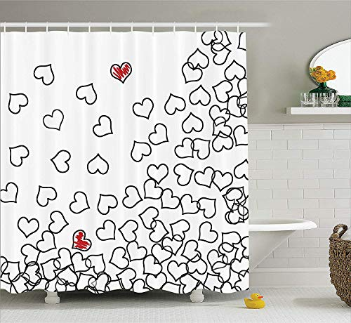 """Ambesonne Black and White Shower Curtain, Heart Shapes Illustration Love You Bridal Wedding His and Hers Theme, Cloth Fabric Bathroom Decor Set with Hooks, 70"""" Long, White Red"""