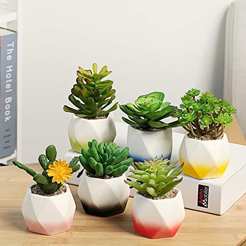 JKXWX 6 Stks Kleine Plantenpotten Keramiek Bloempotten Kamerplanten Potten voor Kantoor Vensterbank Huis Bureau