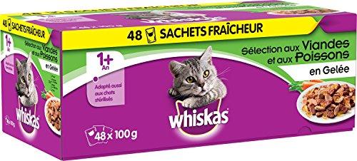 Whiskas - Alimento humedo para gatos, en gelatina (Salmón, Atún, Pollo, Ternera), 48 paquetes x 100g