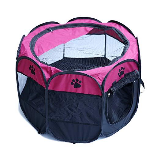 SUNERLORY Tienda de Campaña Plegable para Mascotas, Tienda de Jaula para Mascotas Transparente Zona de Juegos para Animales Pequeños, Parque de Juegos Octogonal para Perro, Gato, Conejo (Rosado)