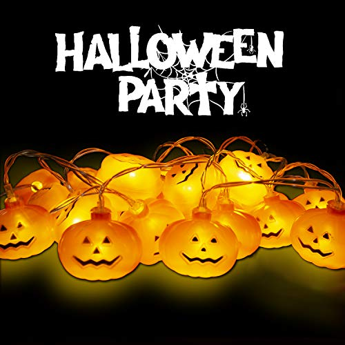 Greatfine Halloween String Lights,20 LED&10Ft Pumpkin Fairy Light,2 Modes Pumpkin String Light Indoor Outdoor Decorations,Warm Lights Decor Home for Halloween,Thanksgivings,Christmas,Battery Operated