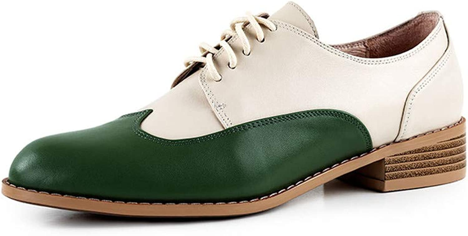 ELFY Women's Brogues Oxford Derby shoes Wingtip Genuine Leather shoes
